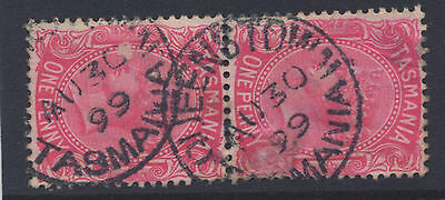 TAS 1d SIDE FACE - Pmk '' QUEENSTOWN '' AUGUST 30th 1899 - JOINED PAIR