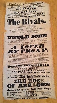 THEATRE ROYAL HAYMARKET 1842 poster THE RIVALS, UNCLE JOHN, A LOVER BY PROXY