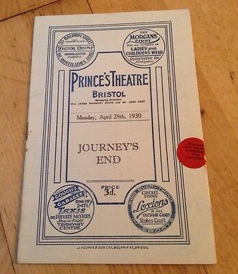 PRINCE'S THEATRE BRISTOL 1930 prog JOURNEY'S END walter dolphin