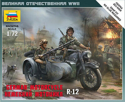1/72 Zvezda 6142 German Motorcycle BMW R12 with sidecar (Art of Tactic) Diorama
