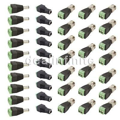 10 Set CAT5 TO BNC Passive Video and Power Balun Transceiver for CCTV wr