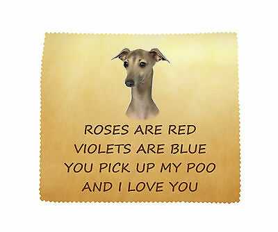 Italian Greyhound I LOVE YOU Microfibre Cleaning Cloth Fun Gift FROM THE DOG