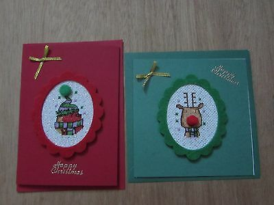 2 colourful handmade cross stitch christmas cards