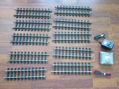 G scale gauge Bachmann steel model train straight track + transfomer controller