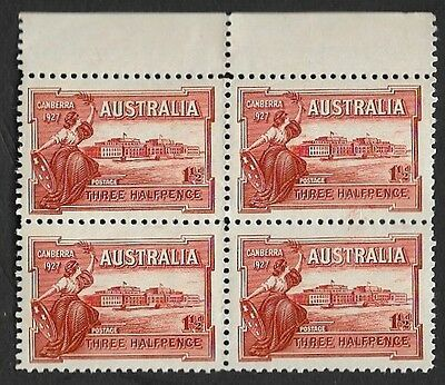 Australia Three Half Pence Canberra 1927 Mint Block Of Four Stamps