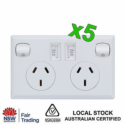 5x Dual USB Australian Power Point Home Wall Power Socket Electrical AU Approved