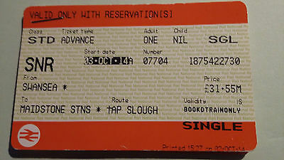 National Rail Single Tickets For Oct 3 2014 Swansea-Paddington-Maidstone Snr