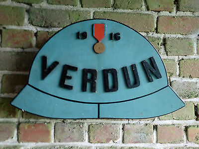 Ww1  1916  Large Verdun  French  Adrian Helmet Wooden  Plaque Sign From A Museum