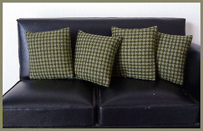 4 cushions for 1/12fth Dolls House. Green mini-check