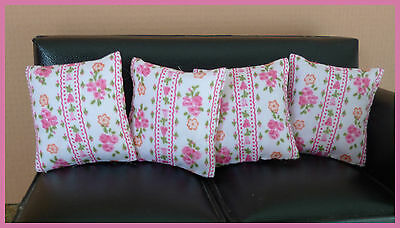 4 cushions for 1/12fth Dolls House. Pink Floral Stripe