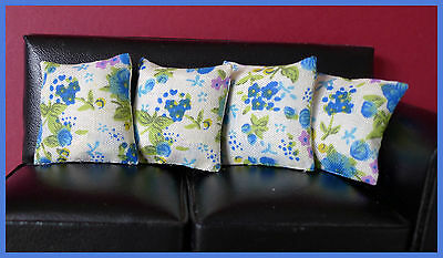 4 cushions for 1/12fth Dolls House. Cream, blue green floral