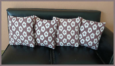 4 cushions for 1/12fth Dolls House. Vintage brown and white geometric