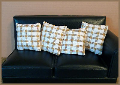 4 cushions for 1/12fth Dolls House. Ivory, Light Brown Check