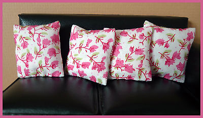 4 cushions for 1/12fth Dolls House. Pink Floral on White