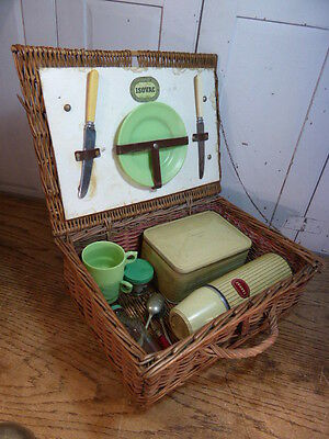 Vintage 1930s wicker picnic basket + contents by Isovac