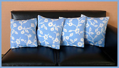 4 cushions for 1/12fth Dolls House. White on blue ditsy