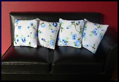 4 cushions for 1/12fth Dolls House. White, Blue Floral