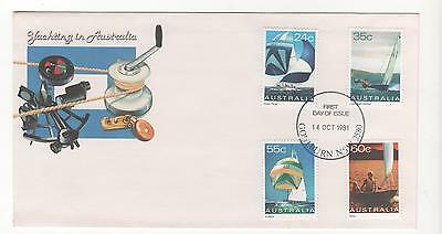 1981 YACHTING  IN AUSTRALIA First Day Cover set 4 stamps BROADWAY 14/10/1981