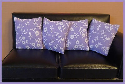 4 cushions for 1/12fth Dolls House.  Lilac, white ditsy