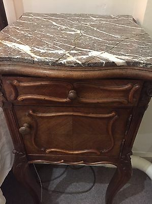 French  solid walnut bedside table Louis XV