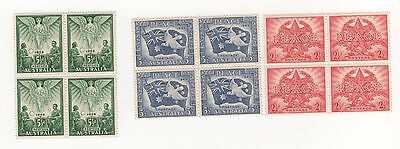 1946 Australia PEACE AND VICTORY  - WWII - SET of all 3 in BLOCKS X 4 mint MUH