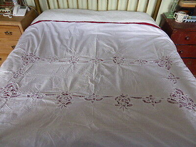 Antique/vintage large white bedspread with lace detail