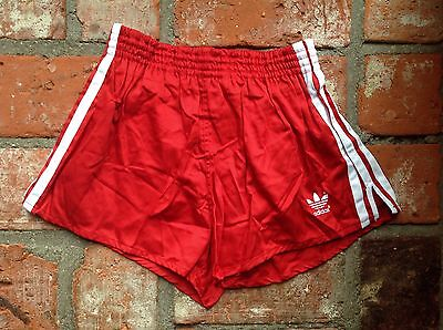 "VINTAGE NEW ADIDAS SPRINTER SHORTS RED WHITE D3 26-28"" COTTON 80s RETRO SHINY"