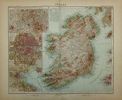 c1909 Map of Ireland by Adolf Stieler, engraved by E Kuhn