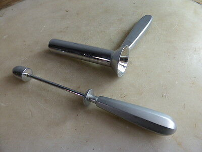 Vintage French stainless steel anal speculum in holder