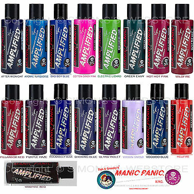 MANIC PANIC AMPLIFIED Semi-Permanent VEGAN Hair Dye Color ALL COLORS 4 Oz NEW