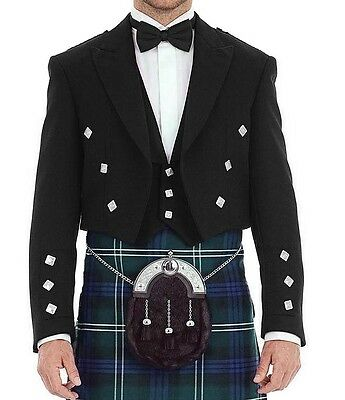 "Men's/boys Scottish Prince Charlie Pure Wool Black  Jacket 24""-44"" Uk Seller"