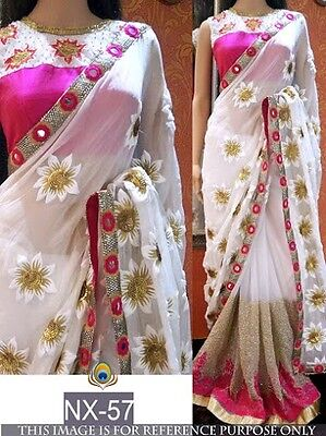 Bollywood Traditional Designer Indian Pakistani Party Ethnic White Saree Sari