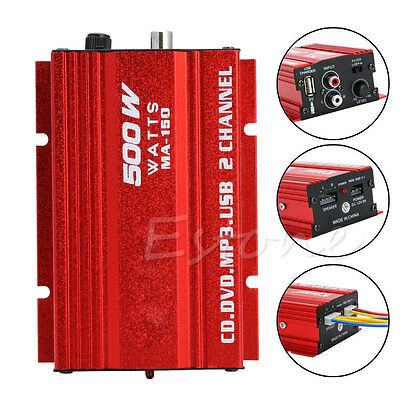 Car Motorcycle 500W 2-Channel USB Mini Hi-Fi Stereo Audio Amp Amplifier Red