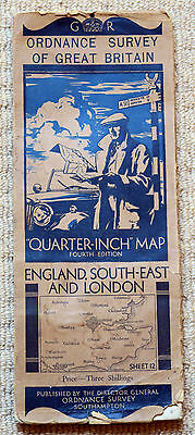 "Ordnance Survey 1/4"" 4th Edn Map of South-East England, Sheet 12, on cloth 1936"