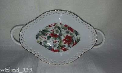 FINE CHINA - poinsettia's and holly Bon Bon Bowl with Gold Accents