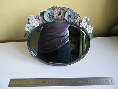 Flowers Barbola Dressing Table Mirror on Stand Vintage Bevelled Glass Art Deco ?