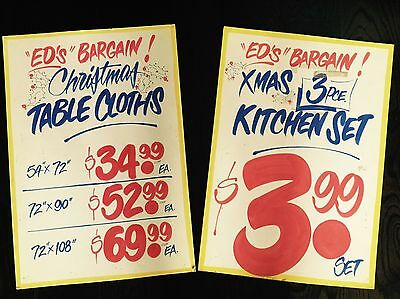 2 Honest Ed's Eds Large Hand painted signs Christmas Bargains!!!