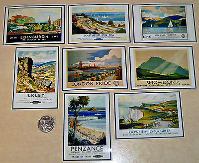 8 Printed Card Toppers - 10 x 7 cm - VINTAGE BRITISH RAILWAY HOLIDAY POSTERS