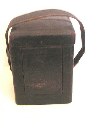 """Late 19th Antique Carriage Clock Case Leather for Striking Carriage Clock 6.25""""H"""