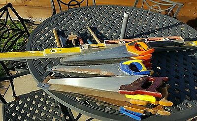 job lot old tools x20 Irvine Stanley hand wood saws and x4 spirit levels