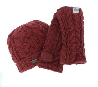 Kusan 100% Wool Cable Knit Beanie Hat & Matching Handwarmers in Red
