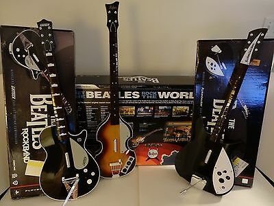 THE BEATLES Rock Band (PS3) PREMIUM EDITION BUNDLE - All 3 Guitar Controllers!