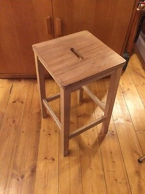 Vintage Wooden School Lab Stools.