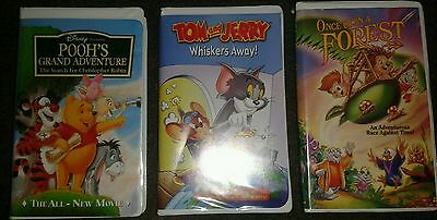 Children's VHS lot Disney Pooh Tom and Jerry Once Upon a forest