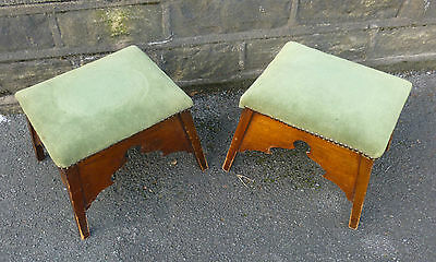 A Pair of Vintage 1930ish Hardwood Footrests with original green velvet covers