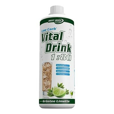Best Body Nutrition Low Carb Vital Drink 1000 ml Flasche Grüntee-Limette