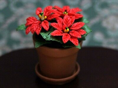 Doll House 1/12Th Scale Christmas Poinsettia In Terracotta Pot