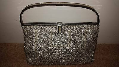 WOW Vintage 50's? 60's? Silver sequin bag with mother of pearl handle and pearls