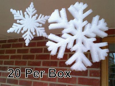 20 Large White Foam Frozen Snowflakes Christmas Hanging Decorations Window