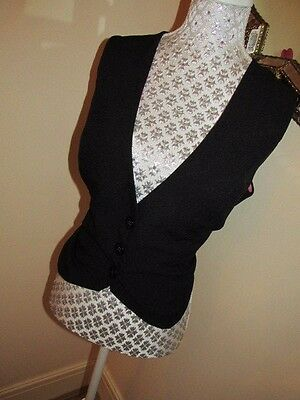Goth/Steampunk/Victorian Black Waistcoat size 20 Lined